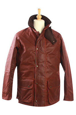 Oxford Blue Traditional Waxed Jacket England Great Britain UK Cotton Nut Brown