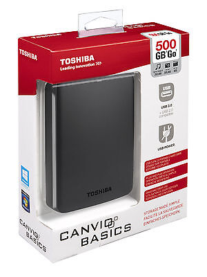 500 GB Toshiba Canvio Basic USB 2.5 Shock Resistance External Hard Drive