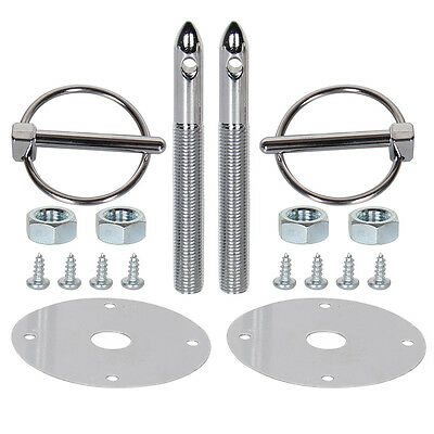 Universal Silver Stainless Steel Mount Hood Pin Pins Plate Bonnet Lock Sets Cool