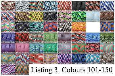 Paracord 550 x 100 Foot CHOOSE FROM 250 COLOURS! GENUINE 7 STRAND PARACORD! 3