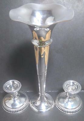 Birks Sterling Silver Candle Holders And Trumpet Vase (So54*)