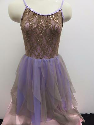 Dance Costume XL Child Lavender Taupe Lace Dress Lyrical Ballet Solo Competition