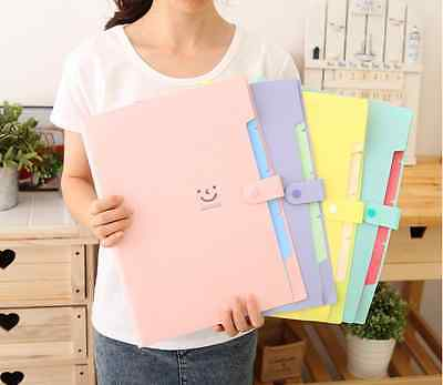 5 Layers A4 Plastic Stud Folder Document Wallet File Stationery Pastel Colour