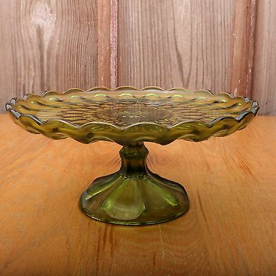 Vintage Green Glass Cake Stand Plate Footed Anchor Hocking
