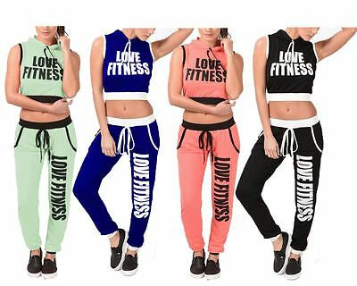 Ladies Womens LOVE FITNESS Hooded Top Trouser Sportwear Set 2Pcs Tracksuit 8-14