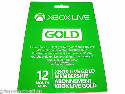 Microsoft Xbox LIVE 12 Month Gold Membership Subscription (Xbox 360 / Xbox One)