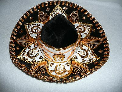 Salazar Yepez Mexican Sombrero Hat Black White Gold Accents