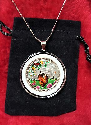 Chinese Zodiac Year of the Rooster Silver Coin Pendant + Case, Chain,Clasp.