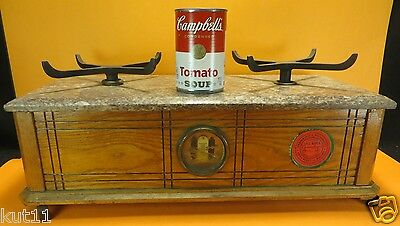 Henry Troemner antique Apothecary balance scale cast iron wood with marble topA