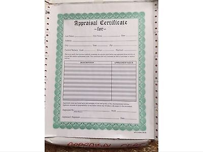 "Appraisal Certificate Form. 138 Triple Copies 8.5""x11"". Custom Made."