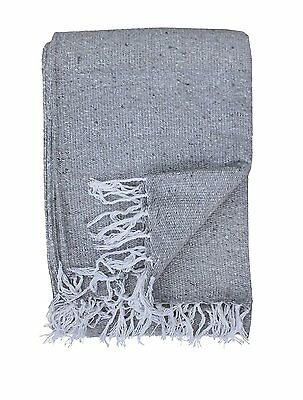 Hand Woven Solid Color Light Grey Imported Warm Mexican Yoga Blanket Throw Cover