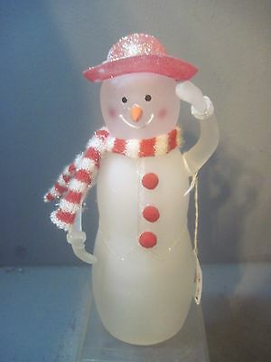 Glass Red Hat Snow Person Figure