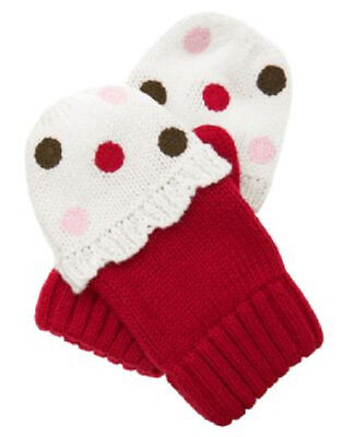 NWT Gymboree Baby Toddler Girl SWEET TREATS Dot Cupcake Sweater Mittens