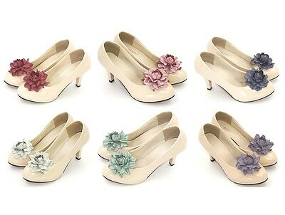 "GENUINE LEATHER rose flower shoe clips 3"", Unique wedding bridal shoe decoration"