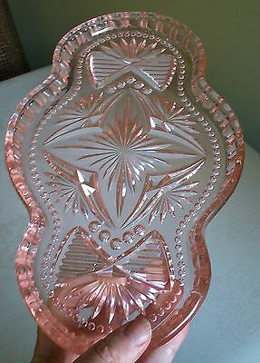 Crystalor -Czech Vintage Cut Pressed Pink Glass Vanity Dressing Table Tray