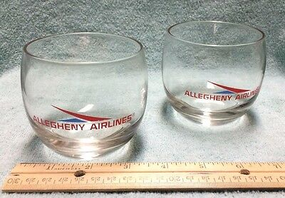 Lot of 2 Vintage ALLEGHENY AIRLINES Roly Poly Style Cocktail Drink Glasses