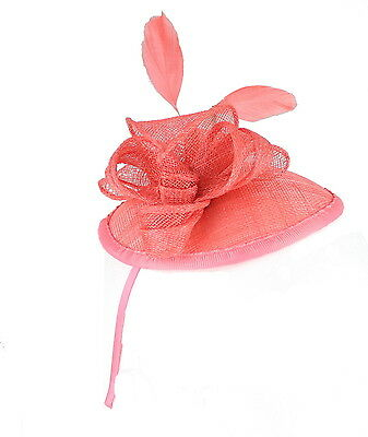 Coral Fascinator on Headband/ Clip-in for Weddings, Races and Occasions-5343