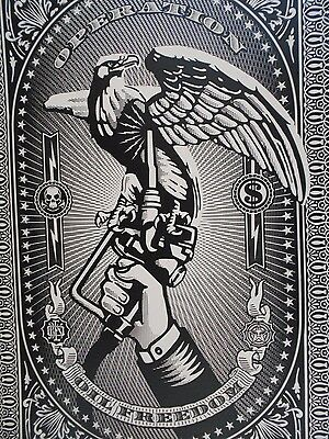 """Shepard Fairey Obey Giant """" Operation Oil Freedom """" Silver Signed 2007"""