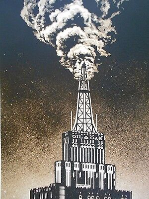 """Shepard Fairey Obey Giant """" Oil and Gas Building """"  Signed 2014"""
