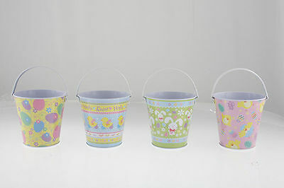 4 easter tin bucket printed 2 styles 10.5x10.5cm
