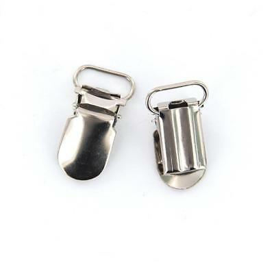 20pcs Webbing Hook Pacifier Suspender Clips Silver DIY Accessory 16mm
