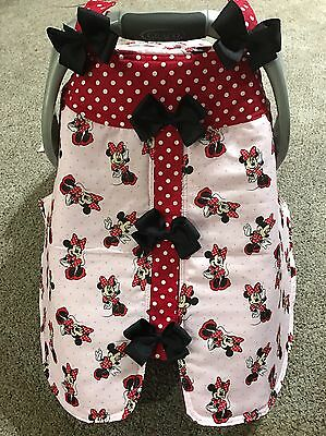 Minnie Mouse With Bows Handmade Baby Infant Car Seat Canopy-Cover