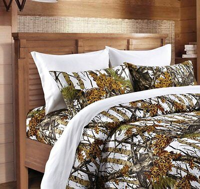 White Camo 6 Pc Set Sheets King Size Woods Camo Bedding Bed Camouflage Fitted
