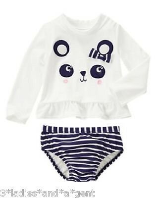 NWT Gymboree Baby Toddler Girl FLOWER SHOWER Panda Rashguard Set