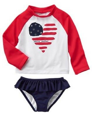 NWT Gymboree Baby Toddler Girl RED WHITE & CUTE 4th Of July Flag Rash Guard Set
