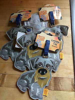 5 LITTLE PAWS Travel Luggage Tag Schnauzer Dog - Pet With Personality GROUP OF 5