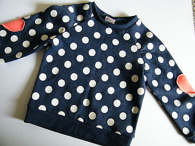 Cute girls blue & white polka dot jumper sweater withheart elbow patches size 3