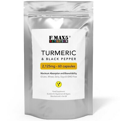 Turmeric and Black Pepper (BioPerine®) Capsules 100% Natural Tumeric NOT Tablets