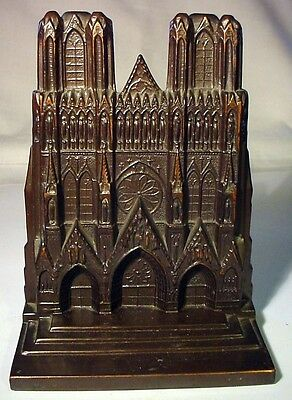 Rheims Cathedral Bronzed Bookend -- Before 1914 WWI Damage