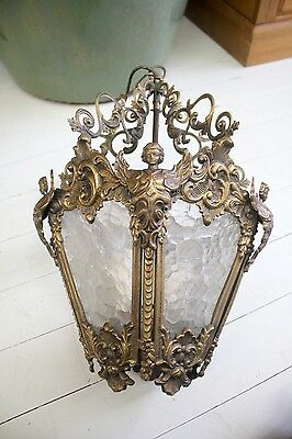 Antique Brass and Bubble Glass Ceiling Light with Winged Angels