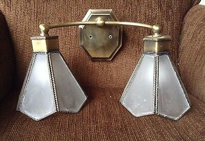Vtg Antique Brass Wall Mount Light Fixture Frosted Glass Globes Vanity Sconce