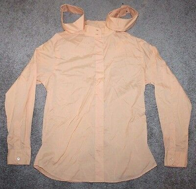 Dover Saddlery Long Sleeve Show Shirt Cotton Orange Fitted 40, 2 Collars Horse