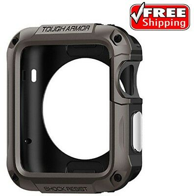> Rugged Case Cover For Apple iWatch 42mm Series 3 2 1 Screen Protector Gunmetal