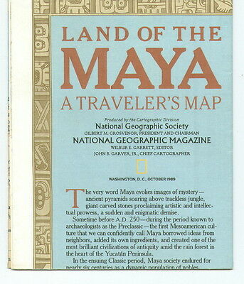 1989 National Geographic Map-Land Of The Maya-New