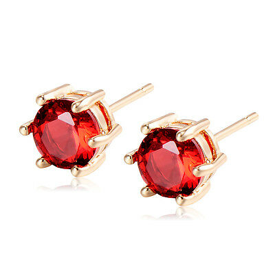 Yellow Gold Filled Jewelry Red Crystal Vintage Small Ear Stud Earrings