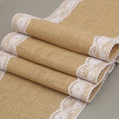 Jute Burlap Lace Hessian Table Runners Vintage Event Party Wedding Home Decor