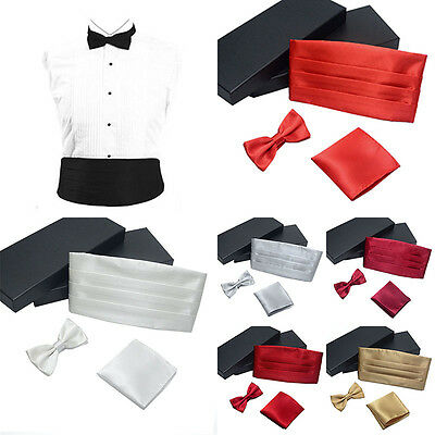 Fashion Satin Cummerbund + Bow Tie + Hanky Handkerchief Set Men Adjustable
