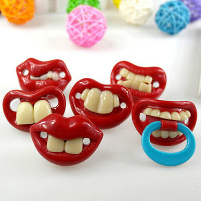 NEW Funny Dummy Dummies Pacifier Novelty Teeth Moustache Baby Child Soother