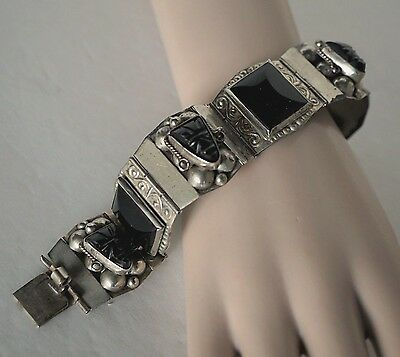 Vintage  Alpaca (Silver Plate) & Onyx Wide Panel Hinged Link Bracelet ~ Mexico
