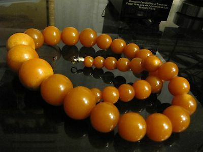 Antique Genuine BALTIC AMBER  XXL Necklace Beads Egg Yolk  80 grams
