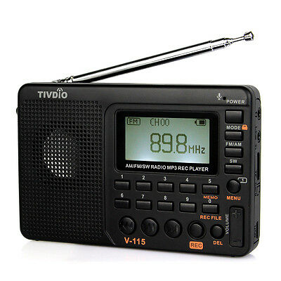 FM/AM/SW Portable Radio Bass Sound MP3 Music Player Voice Recorder Rechargeable