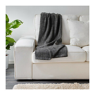 Ikea Gurli Blanket Throw Rug - Grey/Black 120 x 180cm (Lounge, Bed, Sofa, Couch)