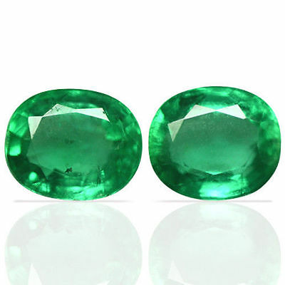 2.56 Cts Natural Top Green Emerald Unheated Oval Cut Pair Zambia Christmas Sale
