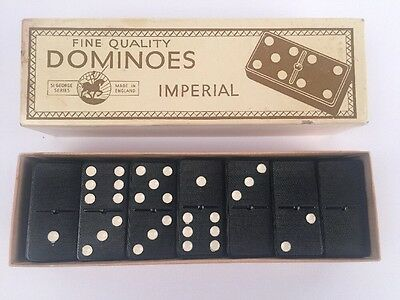 VINTAGE 50's IMPERIAL ST GEORGE SERIES DOUBLE SIX DOMINOES SET MADE IN ENGLAND
