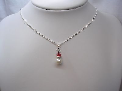Pearl & Coloured Crystal Necklace Flowergirl Bridesmaid Kids & Adult Sizes 15FCR