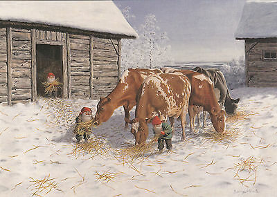New single Christmas postcard by Jan Bergerlind, gnomes, house, cows